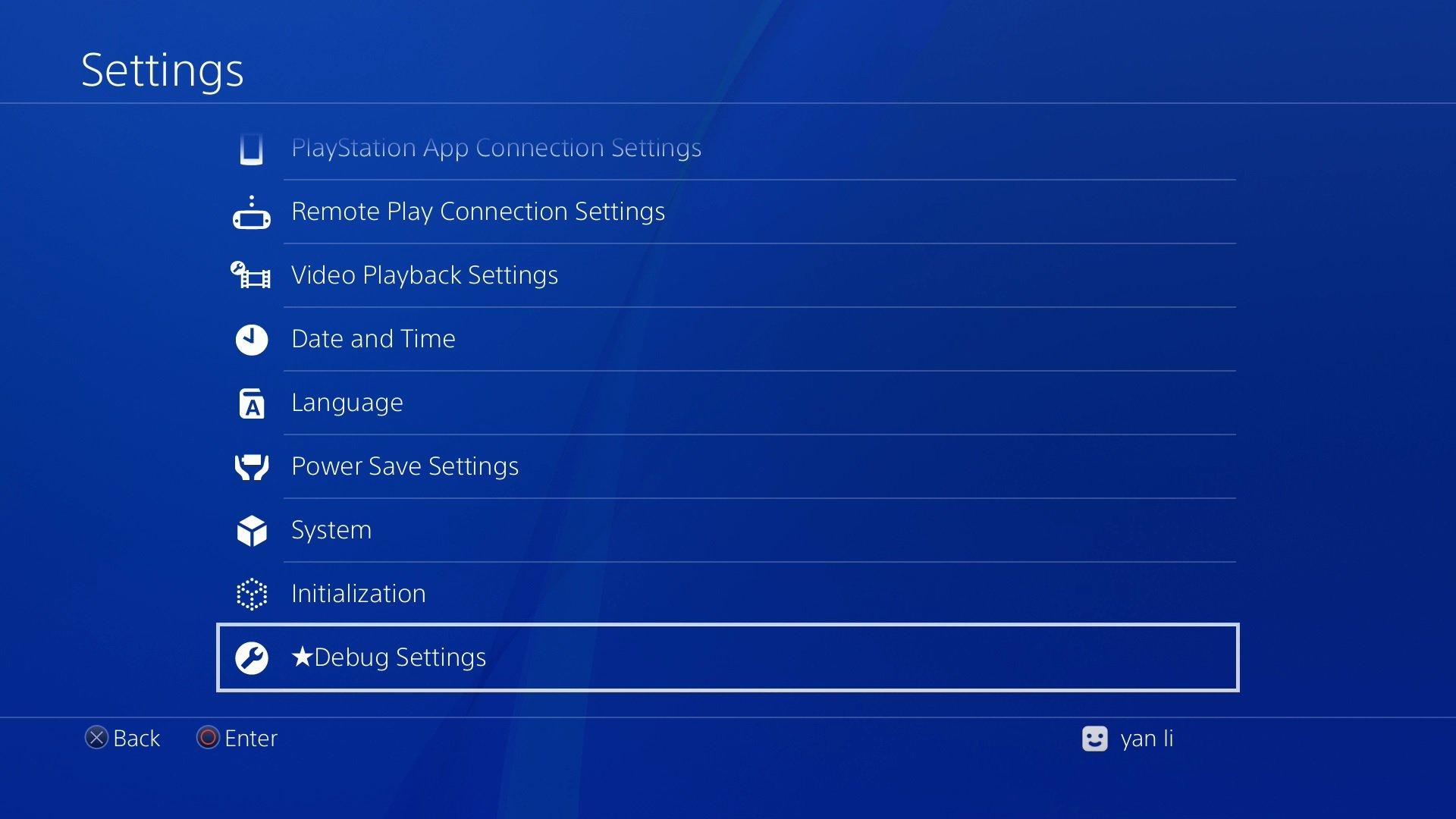 PS4 Debug Settings