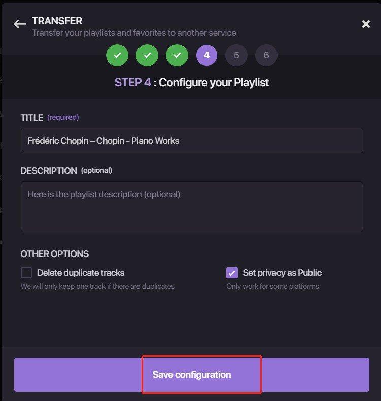 Check The Playlist And Save Configuration Soundiiz
