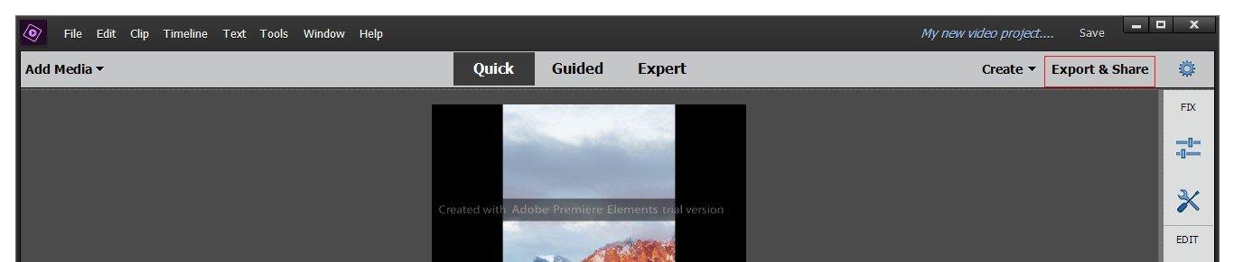Export The Video Premiere Elements