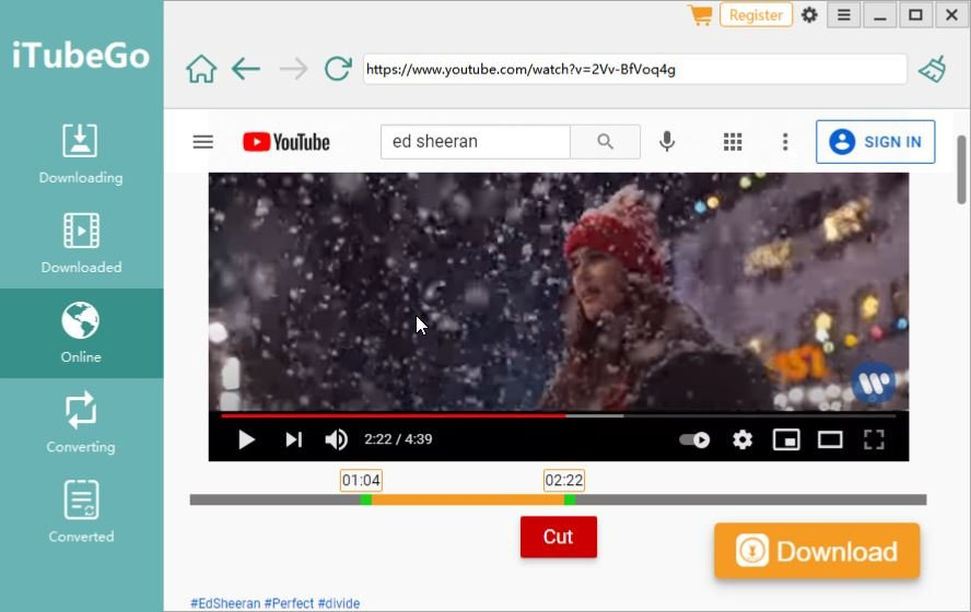 iTubeGo Cutter Feature to Download MP3 from YouTube Selectively