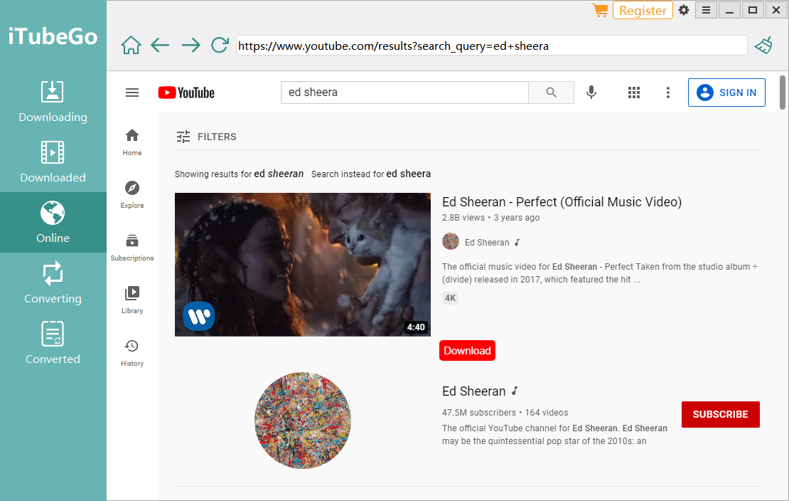 Download MP3 from YouTube Via iTubeGo In-app Browser
