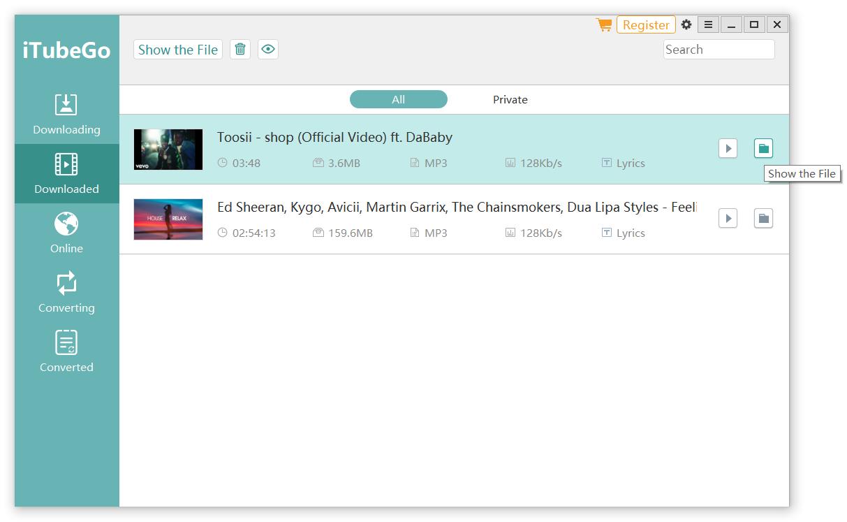 Locate the MP3 YouTube File