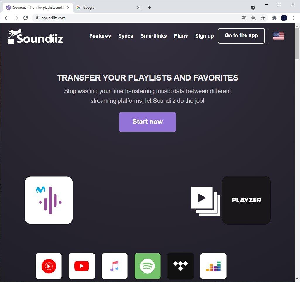 open soundiiz on a browser