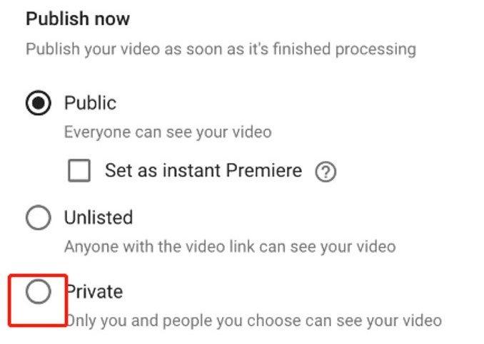 Set Upload Video As No Public