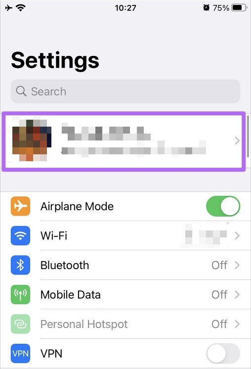 Settings Page On iphone