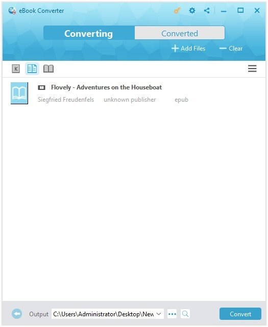 The Interface of eBook Converter